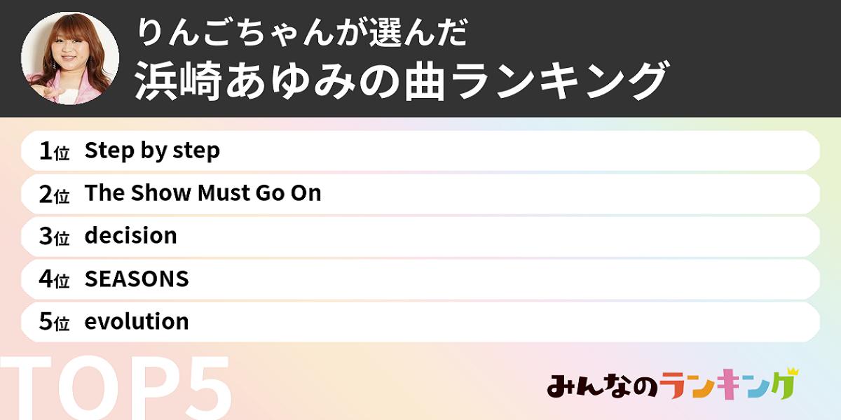 りんごちゃんが選んだ「好きな浜崎あゆみの曲ランキング」ベスト5